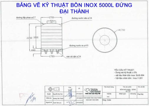 BẢNG VẼ KỶ THUẬT BỒN INOX 5000L ĐỨNG ĐẠI THÀNH