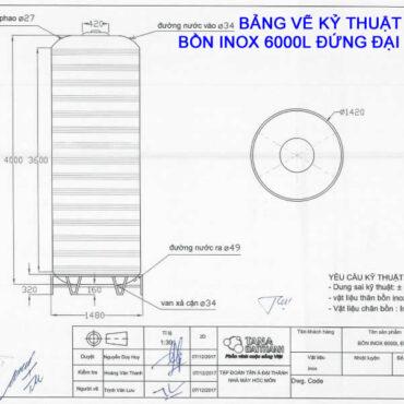 BẢNG VẼ KỶ THUẬT BỒN INOX 6000L ĐỨNG ĐẠI THÀNH
