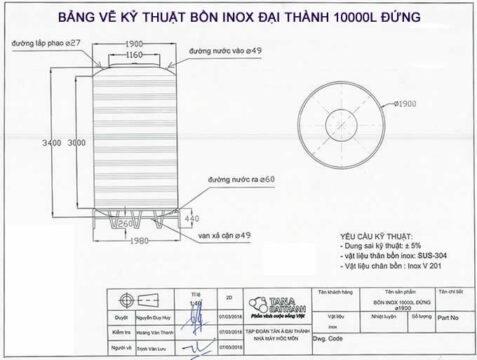 Bảng vẽ kỷ thuật bồn inox 10m3 đứng Đại Thành