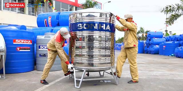 Bồn nước inox 1500l Sơn Hà