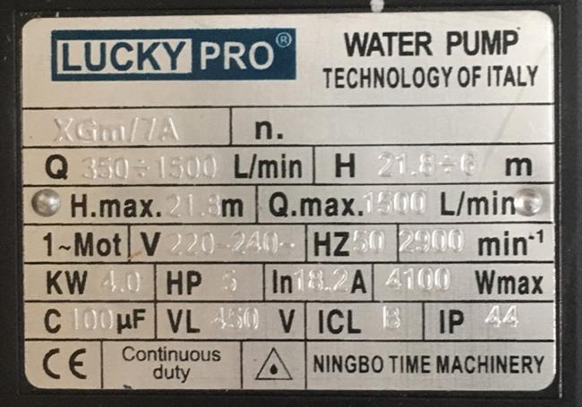 Thông số kỷ thuật máy bơm Lucky Pro