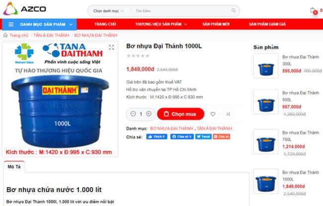 Bơ nhựa 1000L Đại Thành