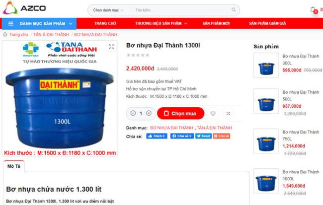 Bơ nhựa 1300L Đại Thành