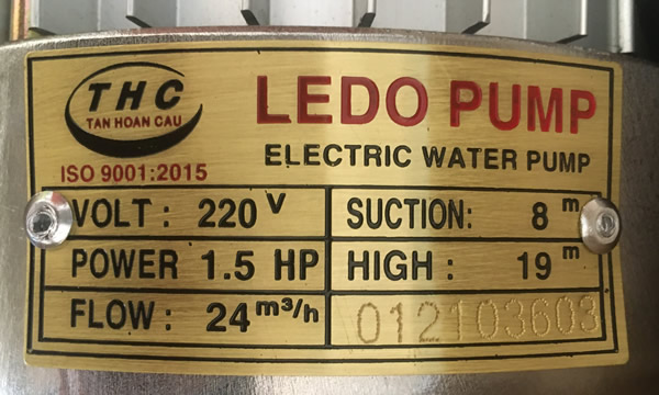 THÔNG SỐ KỶ THUẬT MOTOR LEDE PHUMP LD-1100